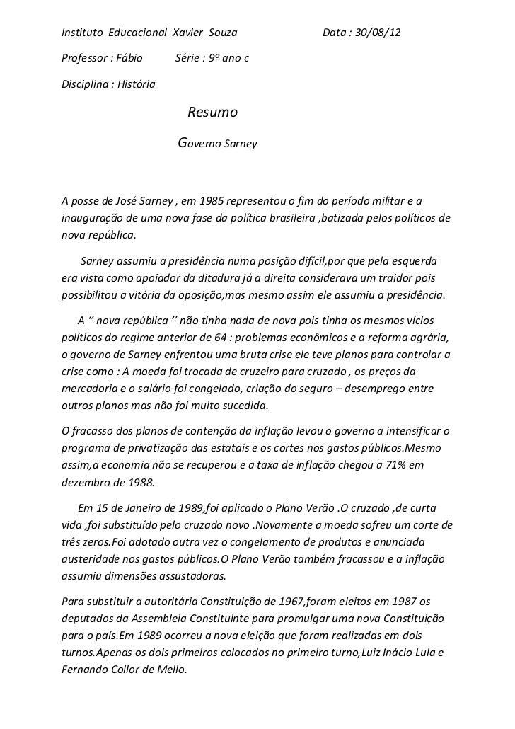 Instituto Educacional Xavier Souza                   Data : 30/08/12Professor : Fábio       Série : 9º ano cDisciplina : H...
