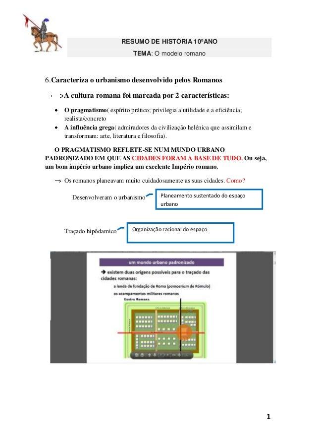 RESUMO DE HISTÓRIA 10ºANO TEMA: O modelo romano  6.Caracteriza o urbanismo desenvolvido pelos Romanos A cultura romana foi...