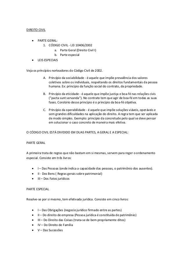 DIREITO CIVIL  PARTE GERAL: 1. CÓDIGO CIVIL - LEI 10406/2002 a. Parte Geral (Direito Civil I) b. Parte especial  LEIS ES...