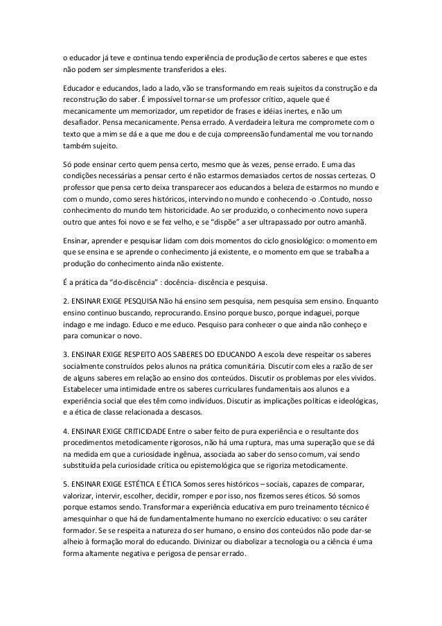 Resumo Do Livro Pedagogia De Autonomia