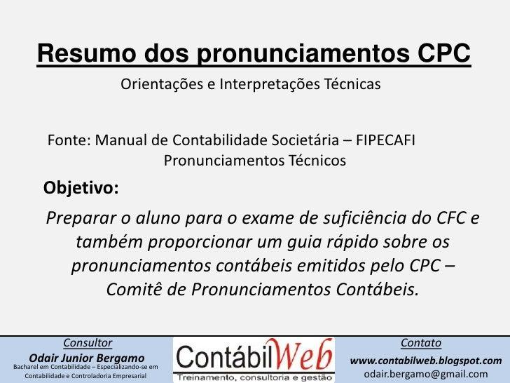 Resumo dos CPCs