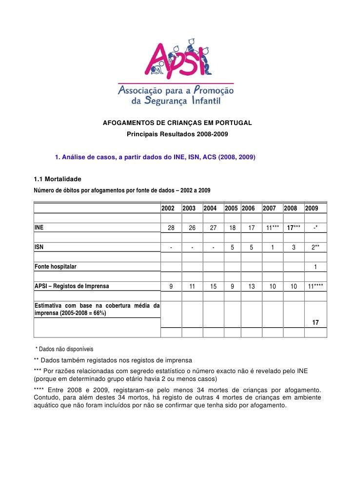 AFOGAMENTOS DE CRIANÇAS EM PORTUGAL                                   Principais Resultados 2008-2009          1. Análise ...