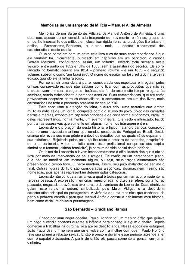Memórias de um sargento de Milícia – Manuel A. de Almeida Memórias de um Sargento de Milícias, de Manuel Antônio de Almeid...