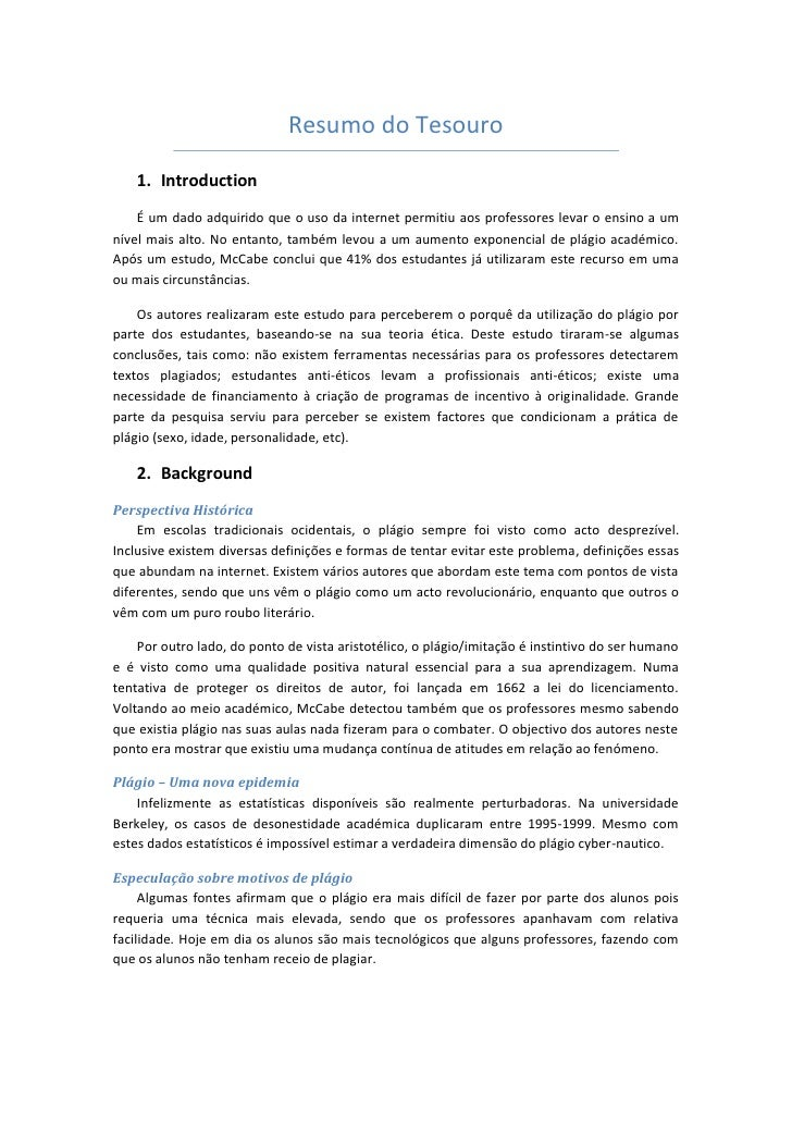 Resumo do Tesouro      1. Introduction     É um dado adquirido que o uso da internet permitiu aos professores levar o ensi...