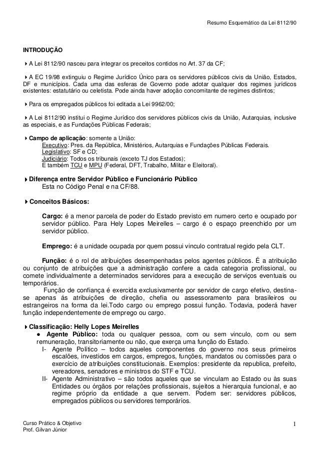 Resumo Esquemático da Lei 8112/90  INTRODUÇÃO A Lei 8112/90 nasceu para integrar os preceitos contidos no Art. 37 da CF; A...