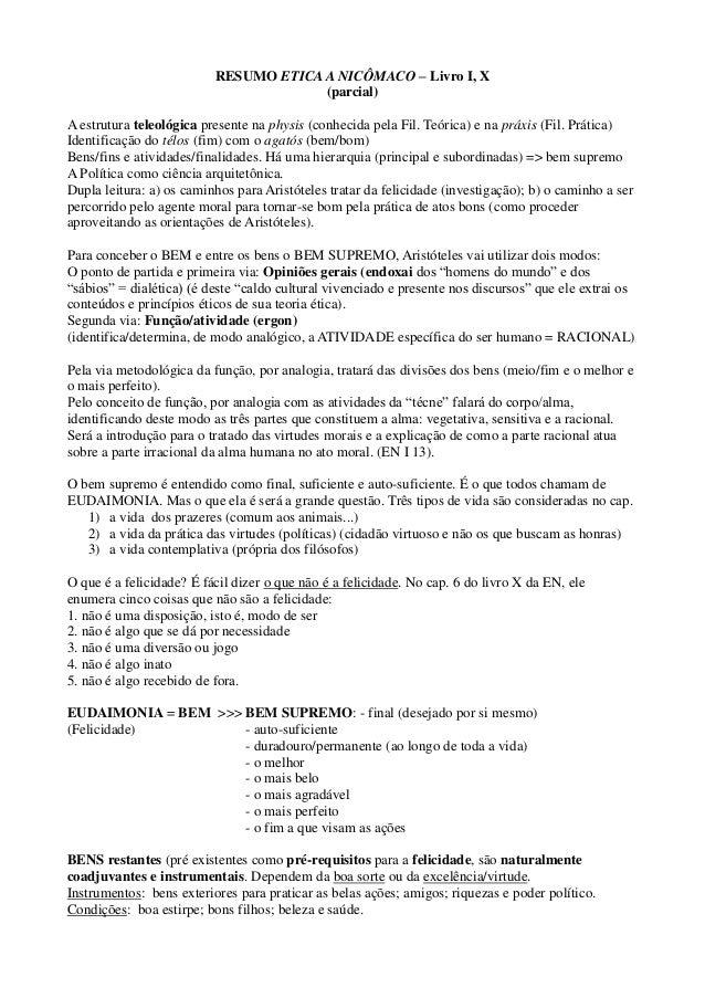RESUMO ETICA A NICÔMACO – Livro I, X (parcial) A estrutura teleológica presente na physis (conhecida pela Fil. Teórica) e ...