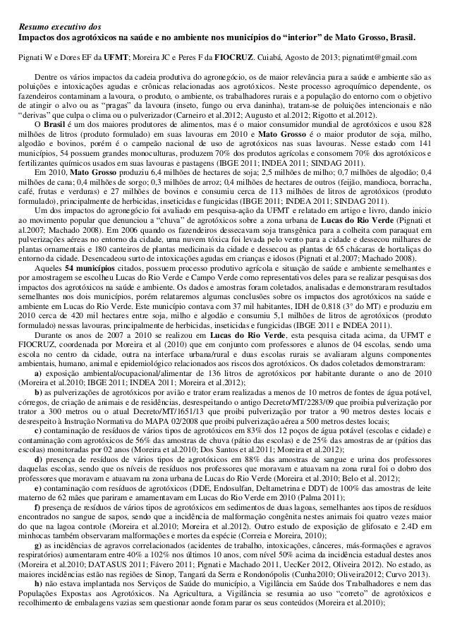 """Resumo executivo dos Impactos dos agrotóxicos na saúde e no ambiente nos municípios do """"interior"""" de Mato Grosso, Brasil. ..."""