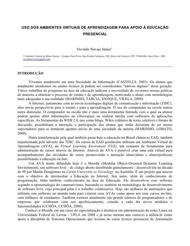USO DOS AMBIENTES VIRTUAIS DE APRENDIZAGEM PARA APOIO À EDUCAÇÃO                                                          ...
