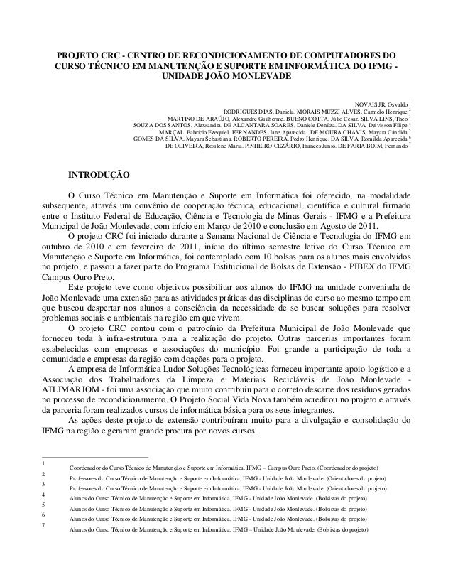PROJETO CRC - CENTRO DE RECONDICIONAMENTO DE COMPUTADORES DOCURSO TÉCNICO EM MANUTENÇÃO E SUPORTE EM INFORMÁTICA DO IFMG -...