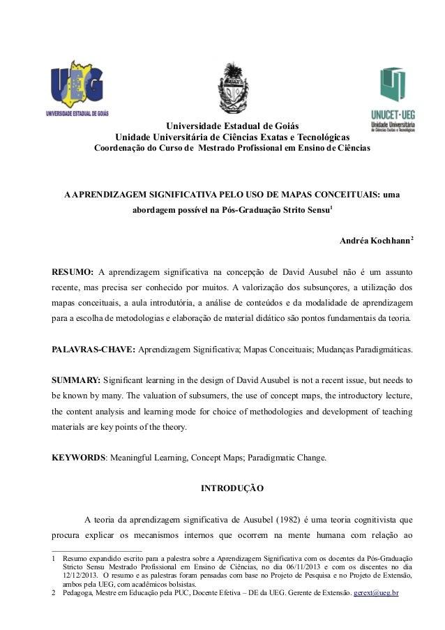 Universidade Estadual de Goiás Unidade Universitária de Ciências Exatas e Tecnológicas Coordenação do Curso de Mestrado Pr...