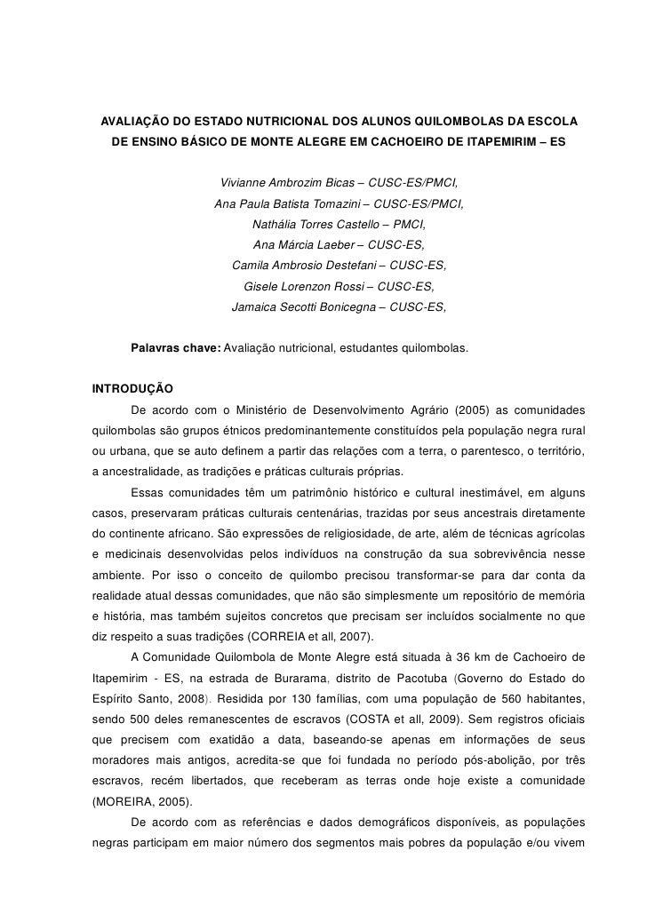 AVALIAÇÃO DO ESTADO NUTRICIONAL DOS ALUNOS QUILOMBOLAS DA ESCOLA   DE ENSINO BÁSICO DE MONTE ALEGRE EM CACHOEIRO DE ITAPEM...