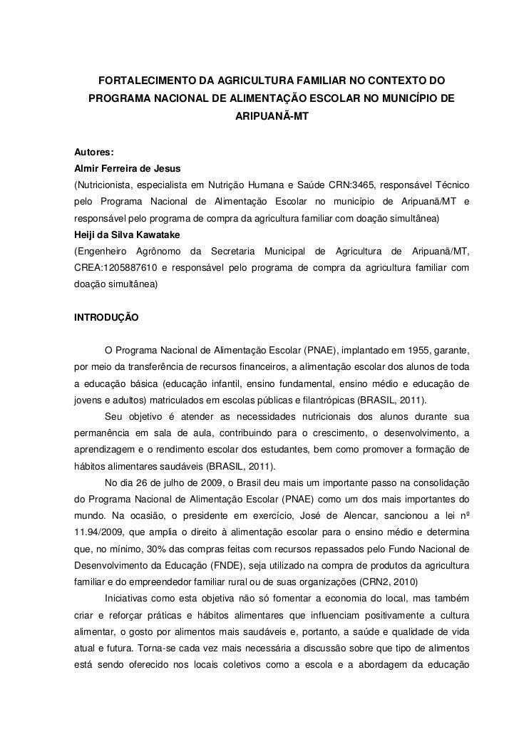 FORTALECIMENTO DA AGRICULTURA FAMILIAR NO CONTEXTO DO   PROGRAMA NACIONAL DE ALIMENTAÇÃO ESCOLAR NO MUNICÍPIO DE          ...