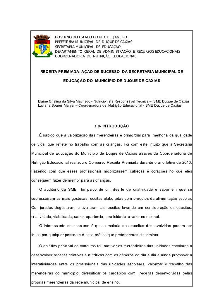 GOVERNO DO ESTADO DO RIO DE JANEIRO              PREFEITURA MUNICIPAL DE DUQUE DE CAXIAS              SECRETARIA MUNICIPAL...