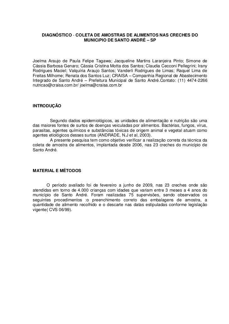 DIAGNÓSTICO - COLETA DE AMOSTRAS DE ALIMENTOS NAS CRECHES DO                     MUNICíPIO DE SANTO ANDRÉ – SPJoelma Arauj...