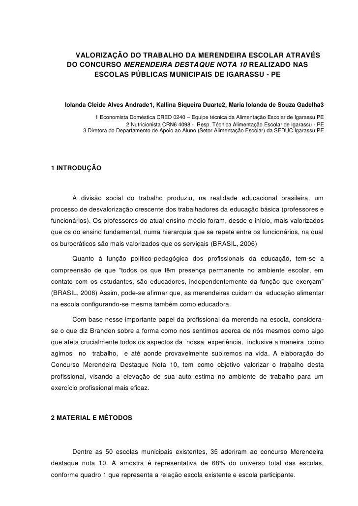 VALORIZAÇÃO DO TRABALHO DA MERENDEIRA ESCOLAR ATRAVÉS     DO CONCURSO MERENDEIRA DESTAQUE NOTA 10 REALIZADO NAS           ...