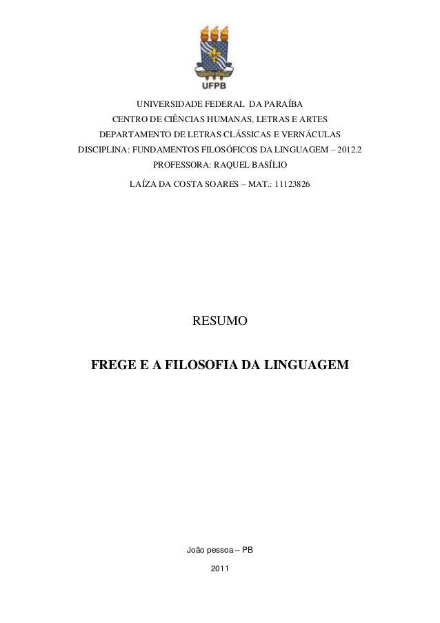 UNIVERSIDADE FEDERAL DA PARAÍBA      CENTRO DE CIÊNCIAS HUMANAS, LETRAS E ARTES    DEPARTAMENTO DE LETRAS CLÁSSICAS E VERN...
