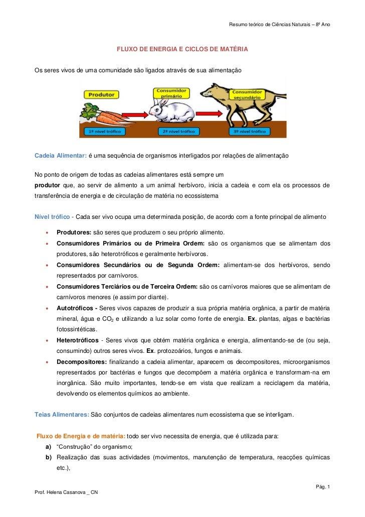 Resumo teórico de Ciências Naturais – 8º Ano                              FLUXO DE ENERGIA E CICLOS DE MATÉRIAOs seres viv...