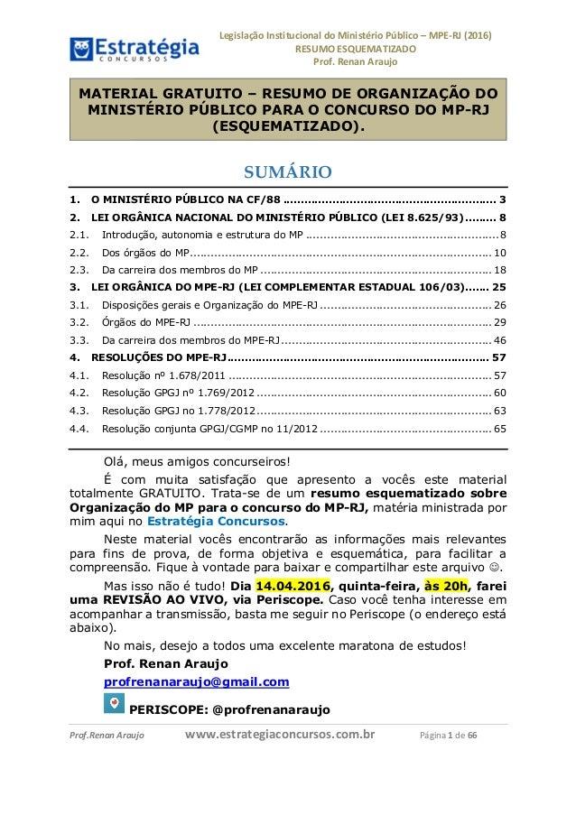 LegislaçãoInstitucionaldoMinistérioPúblico–MPE-RJ(2016) RESUMOESQUEMATIZADO Prof.RenanAraujo         ...
