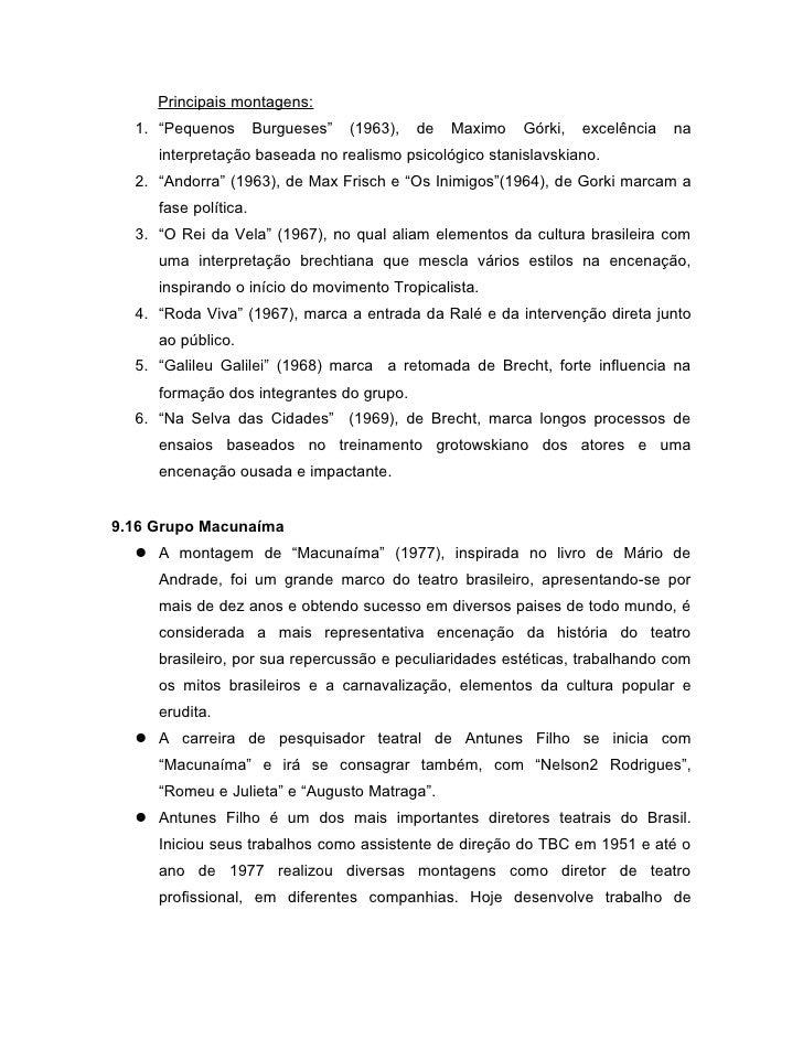 """Principais montagens:  1. """"Pequenos        Burgueses""""   (1963),   de   Maximo   Górki,   excelência   na     interpretação..."""