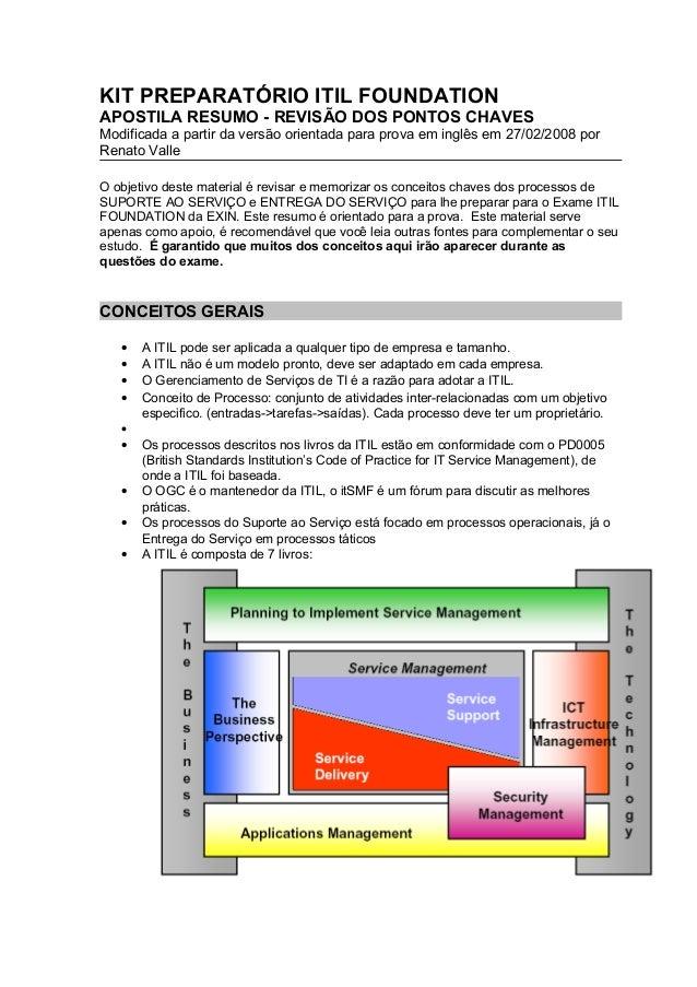 KIT PREPARATÓRIO ITIL FOUNDATIONAPOSTILA RESUMO - REVISÃO DOS PONTOS CHAVESModificada a partir da versão orientada para pr...