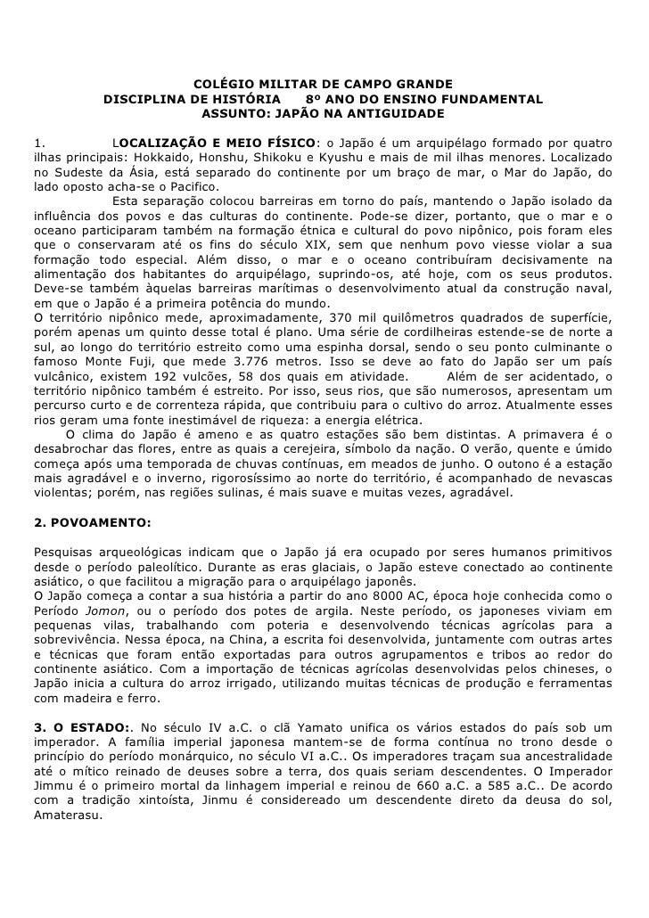 COLÉGIO MILITAR DE CAMPO GRANDE           DISCIPLINA DE HISTÓRIA   8º ANO DO ENSINO FUNDAMENTAL                       ASSU...