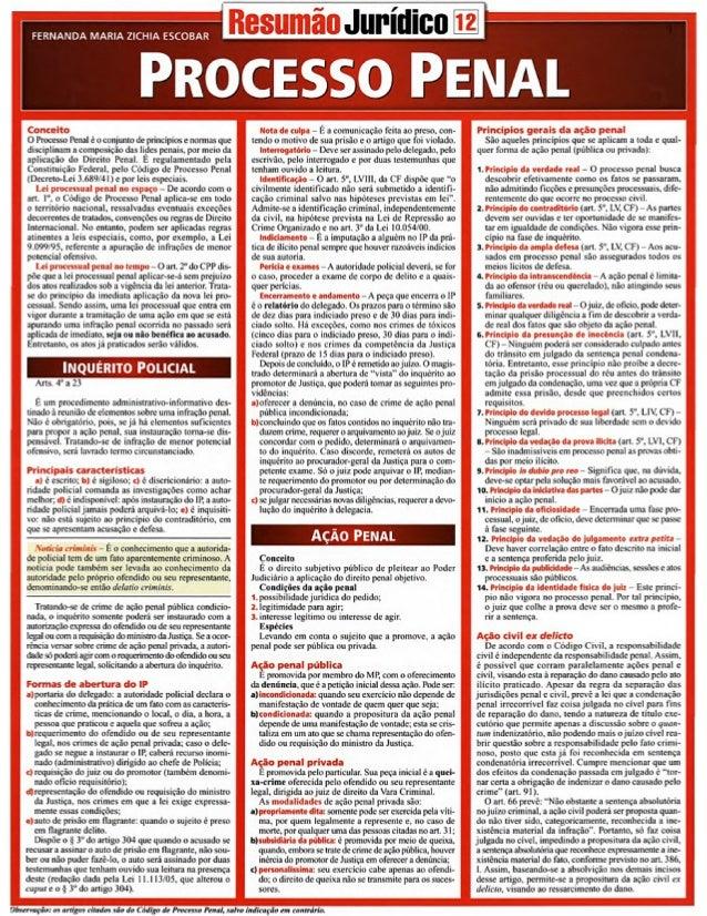 Resumão juridico   processo penal