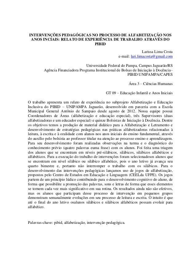 INTERVENÇÕES PEDAGÓGICAS NO PROCESSO DE ALFABETIZAÇÃO NOS ANOS INCIAIS: RELATO DE EXPERIÊNCIA DE TRABALHO ATRAVÉS DO      ...