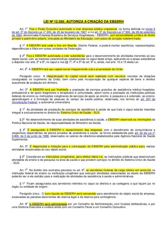 LEI Nº 12.550, AUTORIZA A CRIAÇÃO DA EBSERH o  Art. 1 Fica o Poder Executivo autorizado a criar empresa pública unipessoal...