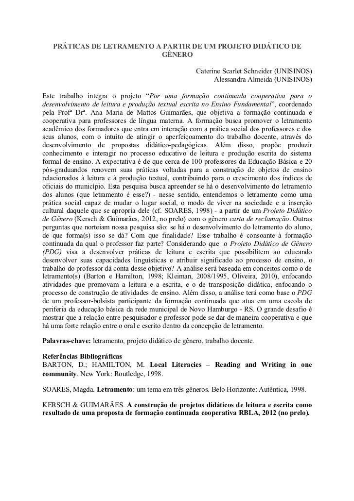 PRÁTICAS DE LETRAMENTO A PARTIR DE UM PROJETO DIDÁTICO DE                           GÊNERO                                ...