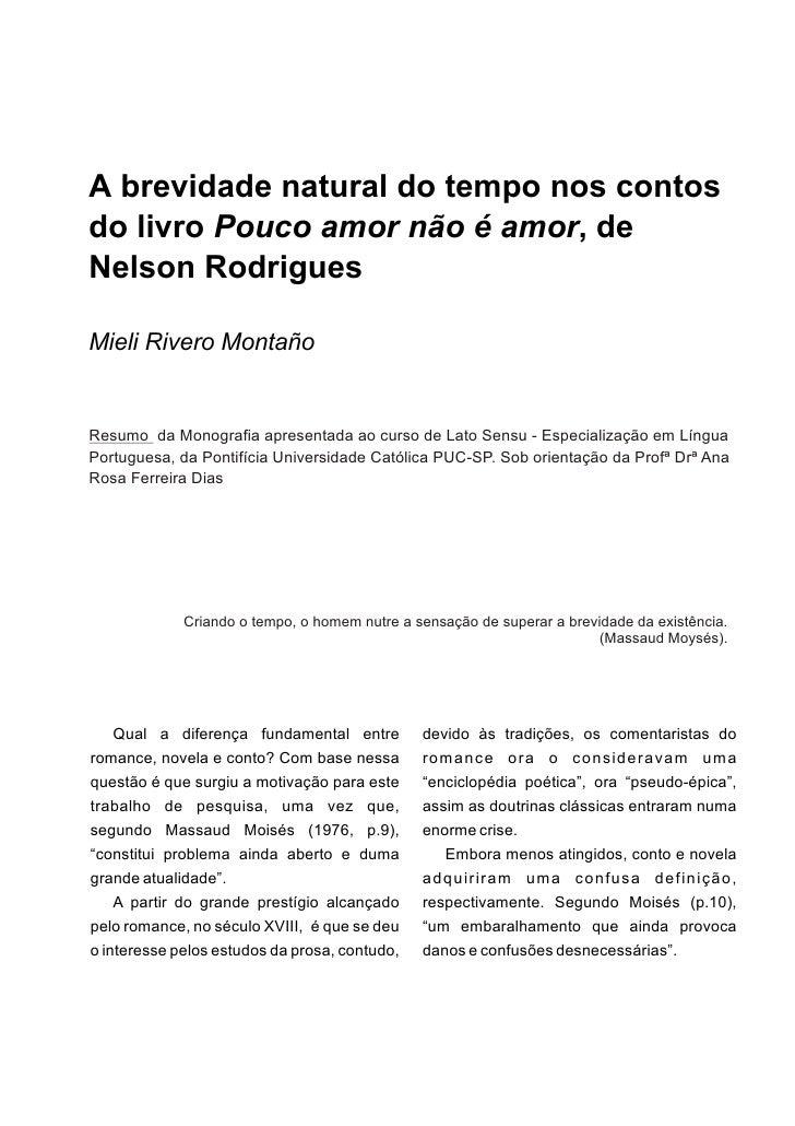 Mieli: resumo Monografia - A brevidade natural do tempo nos contos de Nelson Rodrigues