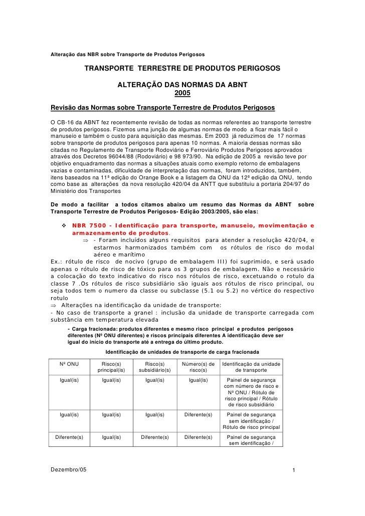Alteração das NBR sobre Transporte de Produtos Perigosos                  TRANSPORTE TERRESTRE DE PRODUTOS PERIGOSOS      ...