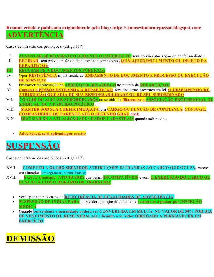 Resumo criado e publicado originalmente pelo blog: http://vamosestudaratepassar.blogspot.com/ ADVERTÊNCIA Casos de infraçã...