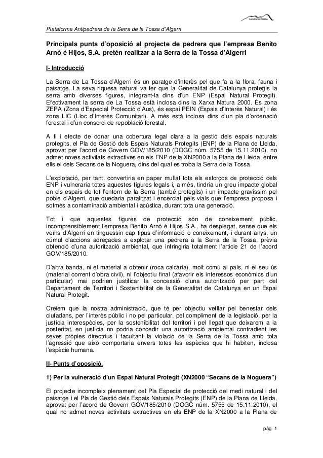 Plataforma Antipedrera de la Serra de la Tossa d'AlgerriPrincipals punts d'oposició al projecte de pedrera que l'empresa B...