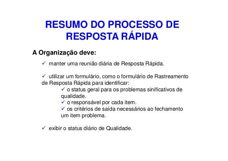RESUMO DO PROCESSO DE       RESPOSTA RÁPIDA A Organização deve:     manter uma reunião diária de Resposta Rápida.       ut...