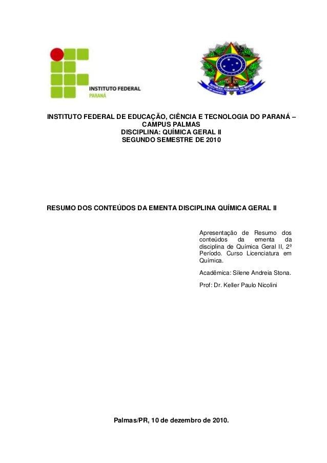 INSTITUTO FEDERAL DE EDUCAÇÃO, CIÊNCIA E TECNOLOGIA DO PARANÁ –                         CAMPUS PALMAS                   DI...