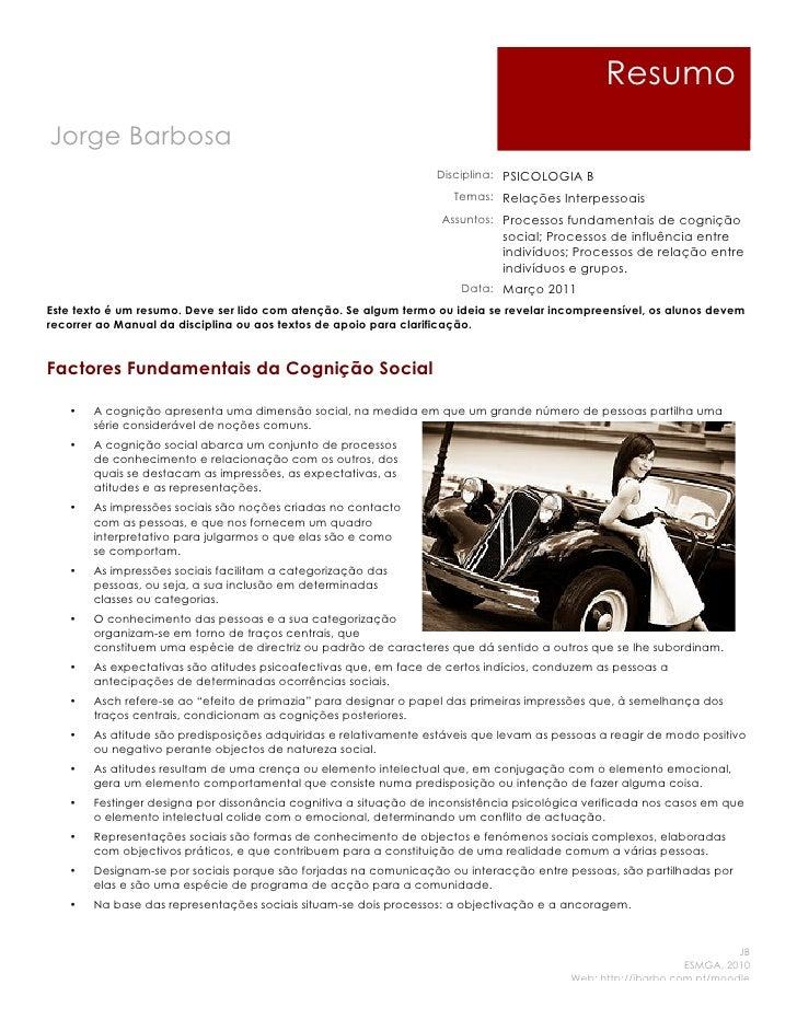 ResumoJorge Barbosa                                                                  Disciplina: PSICOLOGIA B             ...