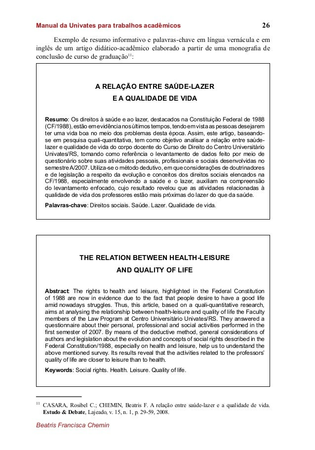 Exemplo de resumo de artigo academico