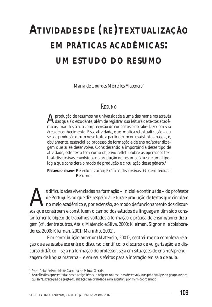 ATIVIDADES DE (RE)TEXTUALIZAÇÃO EM PRÁTICAS ACADÊMICAS: UM ESTUDO DO RESUMOATIVIDADES DE (RE)TEXTUALIZAÇÃO    EM PRÁTICAS ...