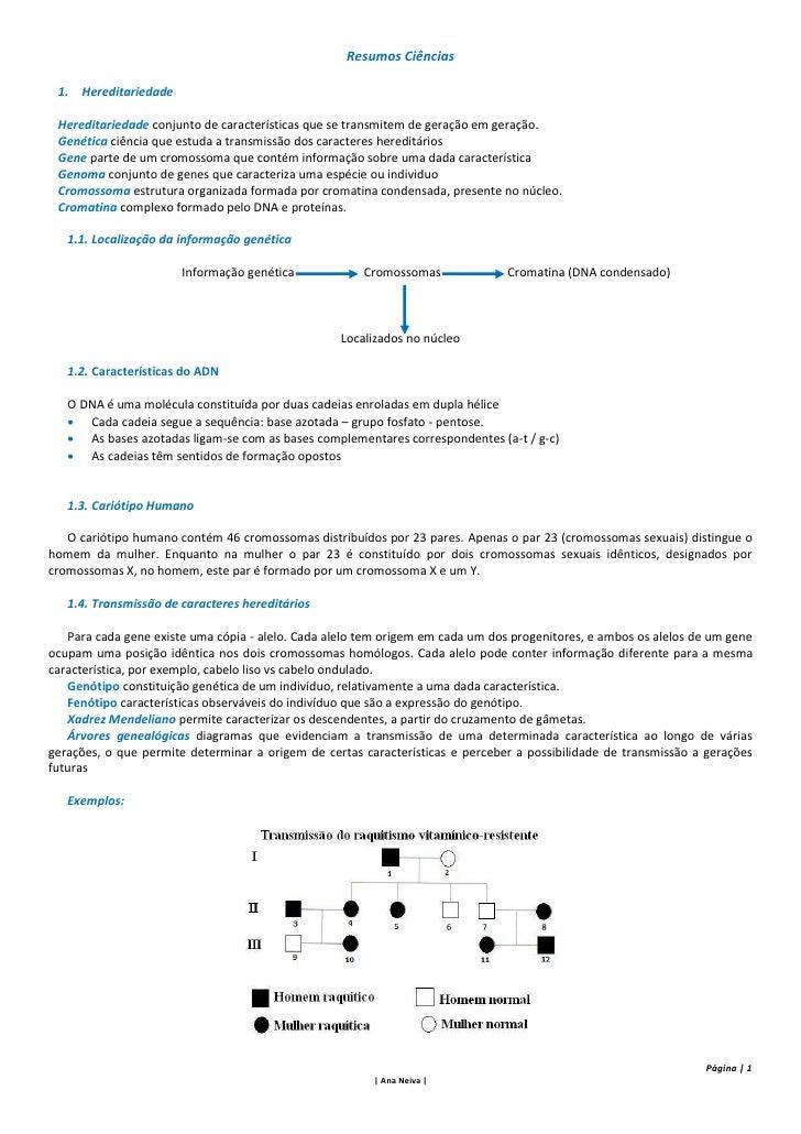 Resumos Ciências 1. Hereditariedade Hereditariedade conjunto de características que se transmitem de geração em geração. G...