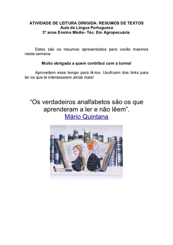 ATIVIDADE DE LEITURA DIRIGIDA: RESUMOS DE TEXTOS                 Aula de Língua Portuguesa        3º anos Ensino Médio- Té...