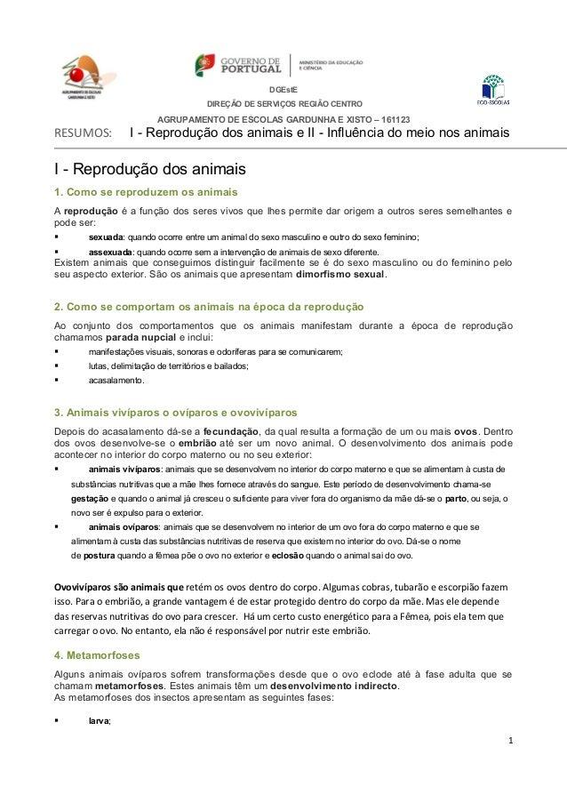 DGEstE DIREÇÃO DE SERVIÇOS REGIÃO CENTRO AGRUPAMENTO DE ESCOLAS GARDUNHA E XISTO – 161123 RESUMOS: I - Reprodução dos anim...