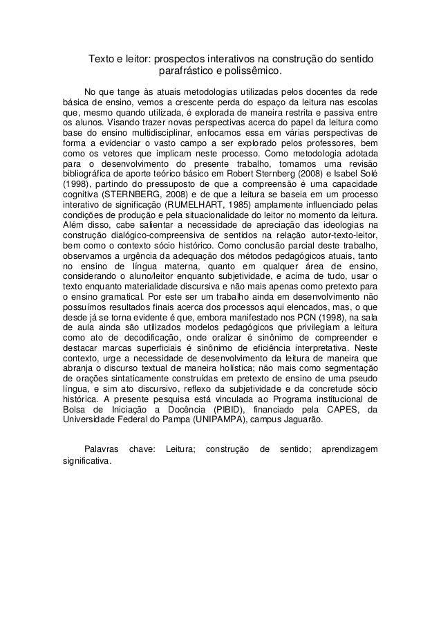 Texto e leitor: prospectos interativos na construção do sentido                       parafrástico e polissêmico.      No ...
