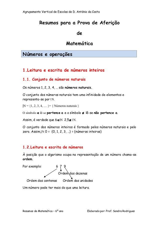 Agrupamento Vertical de Escolas de D. António da Costa Resumos de Matemática – 6º ano Elaborado por: Prof. Sandra Rodrigue...