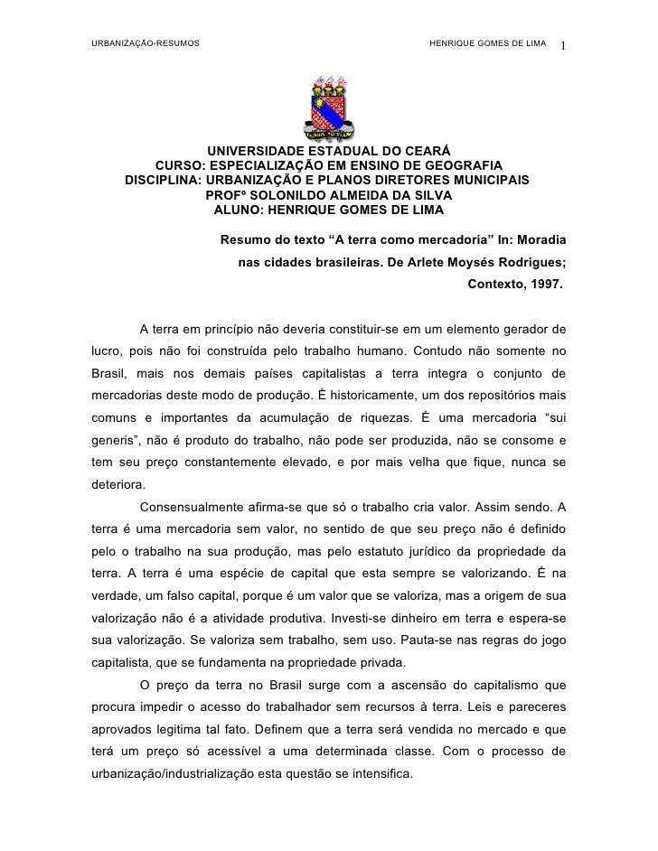 URBANIZAÇÃO-RESUMOS                                         HENRIQUE GOMES DE LIMA   1                       UNIVERSIDADE ...