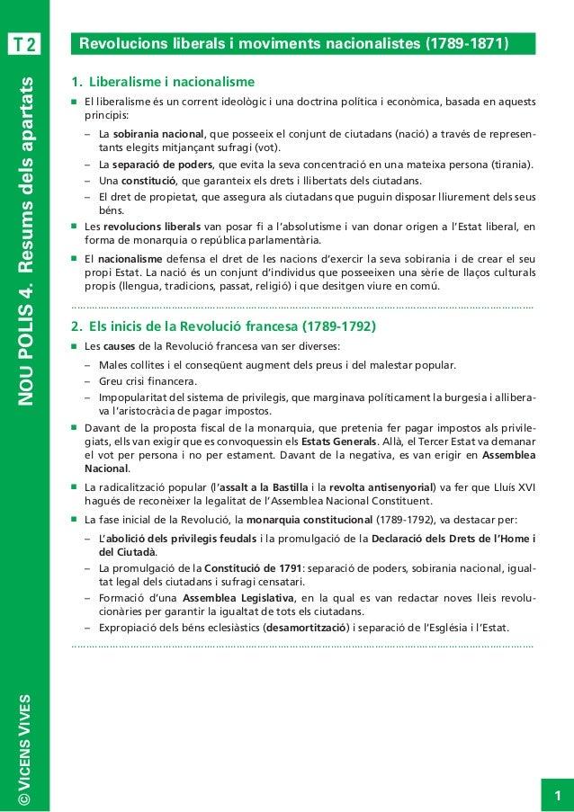 NOU POLIS 4. Resums dels apartats  T2  Revolucions liberals i moviments nacionalistes (1789-1871) 1. Liberalisme i nacio...