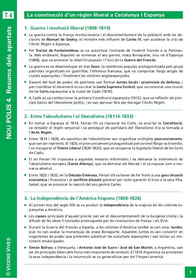 NOU POLIS 4. Resums dels apartats  T4  La construcció d'un règim liberal a Catalunya i Espanya 1. Guerra i revolució lib...