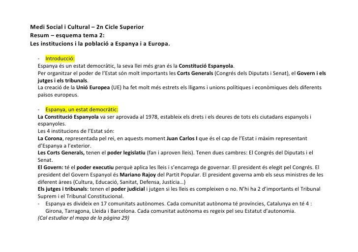 Medi Social i Cultural – 2n Cicle SuperiorResum – esquema tema 2:Les institucions i la població a Espanya i a Europa.  - I...