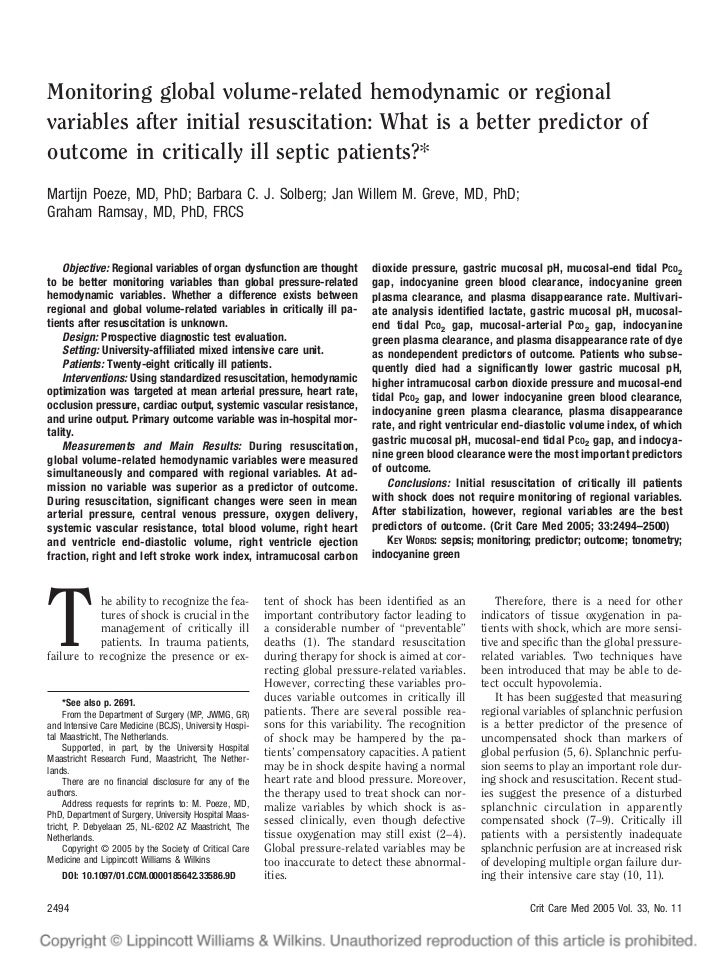 Monitoring global volume-related hemodynamic or regionalvariables after initial resuscitation: What is a better predictor ...
