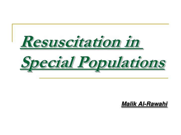 Resuscitation in special populations