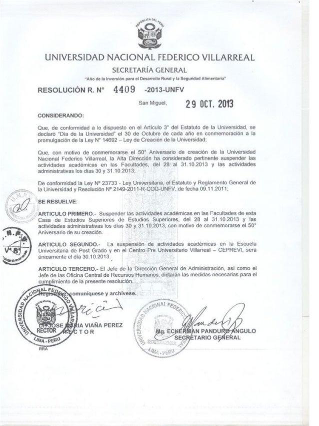 Resolución R. N° 4409-2013-UNFV